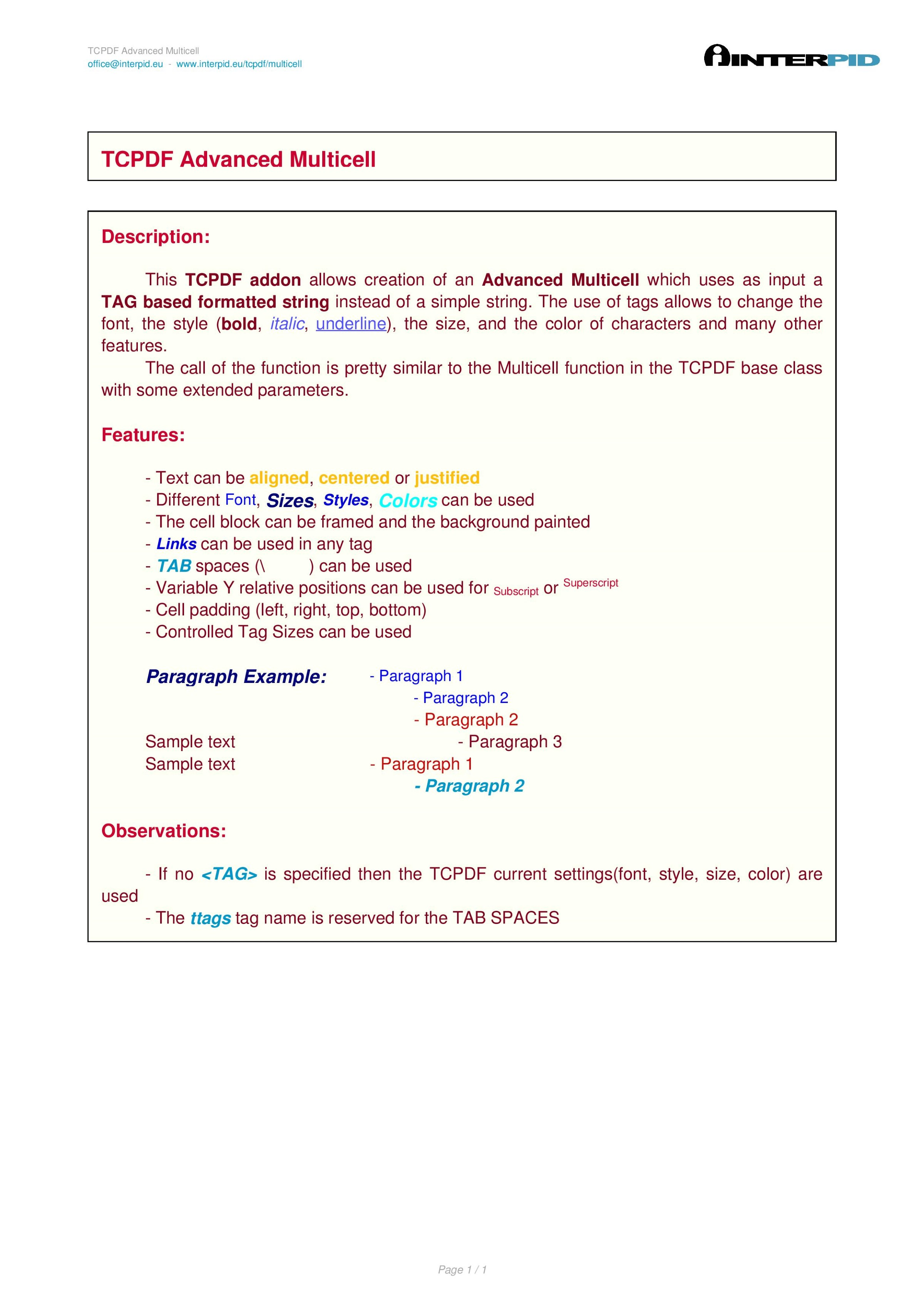 TCPDF Advanced Multicell